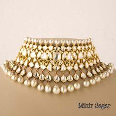 Uncut Diamond & Pearl Indian Necklace..