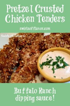 Oven Baked Pretzel Ranch Chicken Tenders is an easy recipe with a crunchy pretzel coating and spicy dipping sauce.