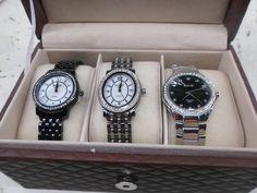 August Steiner Women's Diamond Wardrobe Watch Set: Black & SilverTone ASGP8063BK