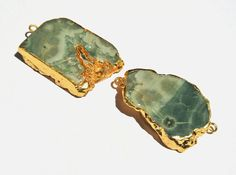 1Pc 24Kt Gold Electroplated Edge Green Ocean by RareGemsNJewels