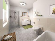 Massivhaus BUNGALOW 78 modern mit Walmdach - | HausbauDirekt.de Town Country Haus, Alcove, Bathtub, Bathroom, Spacious Living Room, House Construction Plan, Modern Bungalow, Standing Bath, Washroom