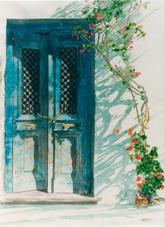 "Micheal Zarowsky Bougainvillea, Blue doors, Mykonos, Cyclades 2001 30"" x 22"" watercolour on arches paper (private collection)"