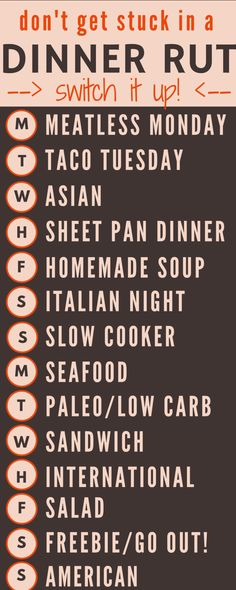 Meal Planning Schedule to Get Out of Your Dinner Rut Two week's worth of creative dinner ideas for when you're stuck in a dinner rut! via CookingTwo week's worth of creative dinner ideas for when you're stuck in a dinner rut! Make Ahead Meals, Freezer Meals, Freezer Recipes, Budget Recipes, Frugal Meals, Freezer Cooking, College Recipes, Cheap Recipes, Crockpot Recipes