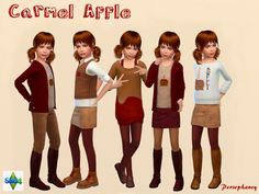 Fun fall fashion for female children featuring Caramel apple motifs and a Deep Red and Golden Beige color palette. Found in TSR Category 'Sims 4 Sets'