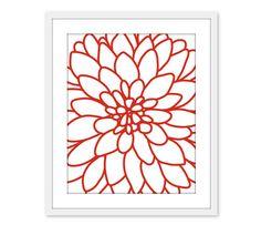 Dahlia Flower No2  Wall Art Print  Modern  Home Decor by AldariArt, $18.00