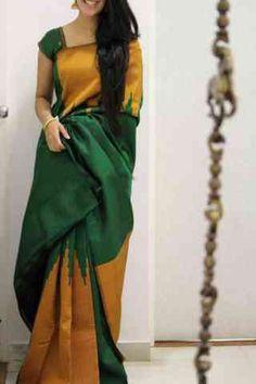 Discover thousands of images about Unique Multi Color Soft Silk Saree - Indian Silk Sarees, Soft Silk Sarees, Indian Beauty Saree, Saree Color Combinations, Cotton Saree Blouse Designs, Kalamkari Dresses, Saree Trends, Stylish Sarees, Casual Saree