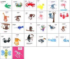 ABECEDARIO DE ANIMALES EN INGLÉS CON HUELLAS DE PIES Y MANOS. http://www.educamania.es/blog/2014/12/16/handprint-animal-alphabet/