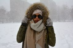 Ray-bans in snowy days with blanket scarf and fur lined parka / blogger PrettyProperQuaint