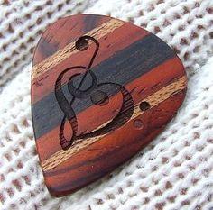 Custom Laser Engraved Guitar Pick - Handmade With Exotic Woods