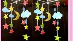 Paper made wall hanging moon star for kids - How to make Moon & Stars ou. Sun Crafts, Foam Crafts, Crafts For Kids, Paper Crafts, Wall Hanging Crafts, Diy Hanging, Mason Jar Crafts, Bottle Crafts, Moon For Kids