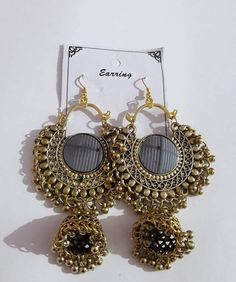 Indian Jewelry Earrings, Indian Jewelry Sets, Fancy Earrings, Silver Jewellery Indian, Jewelry Design Earrings, Indian Wedding Jewelry, Golden Jewelry, Ear Jewelry, Silver Jewelry