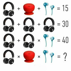 It is 60 headphones equals 10 earbuds equals 2 and the radio equals 3 Easy Logic Puzzles, Maths Puzzles, Logic Problems, Algebra Problems, Fun Math, Math Games, Puzzle Games, Brain Teaser Questions, Brain Teasers Riddles