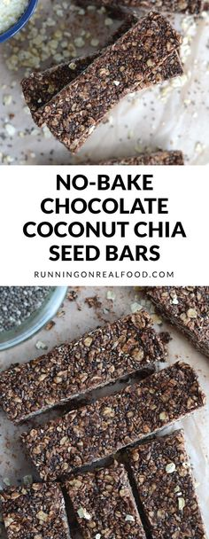These Chocolate Coconut Chia Seed Bars are so easy to make, can be prepared in minutes with no blending or baking and only require a few ingredients. Vegan, gluten-free, no refined sugar. # Food and Drink chia seeds Chocolate Coconut Chia Seed Bars Healthy Bars, Healthy Baking, Healthy Desserts, Raw Food Recipes, Snack Recipes, Cooking Recipes, Healthy Recipes, Bar Recipes, Healthy Lunches