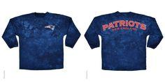 New England Patriots Logo Tie Dye Sweeper Long Sleeve Oversized Top Shirt Jersey