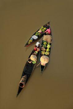 Thai river market boats
