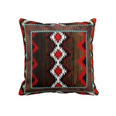 Native American, Red Brown and Turquoise Pillow