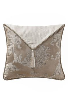 Waterford Chantelle Tasseled Envelope Square Pillow - Taupe N/A Waterford Bedding, Shabby Chic Pillows, Lace Pillows, White Pillows, Simply Shabby Chic, Sewing Studio, Tea Towels, Decorative Throw Pillows, Throw Cushions