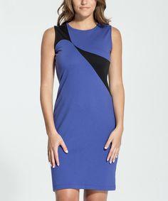 Amelia Royal Blue & Black Color-Slice Dress - Women