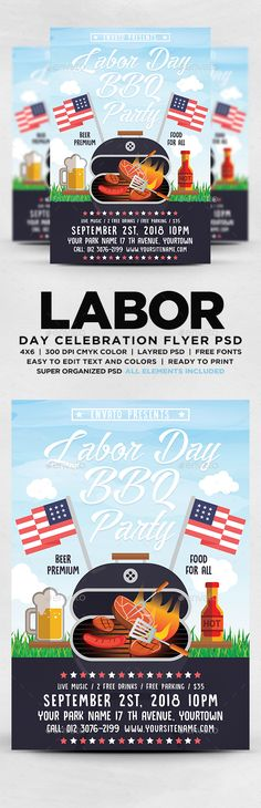 Labor Day BBQ Party Flyer — Photoshop PSD #invite #Veterans Day • Available here ➝ https://graphicriver.net/item/labor-day-bbq-party-flyer/20558157?ref=pxcr