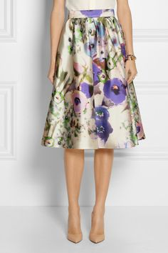Lela Rose #floral print satin skirt http://rstyle.me/n/c2u3xr9te