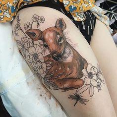 Deer tattoo by Sophia Baughan