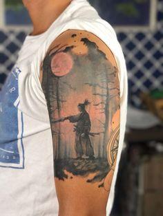 Vagabond Samurai Tattoo - Tatuagem Samurai Andarilho - por Felipe Scarel. Estilo Realismo e Degrade