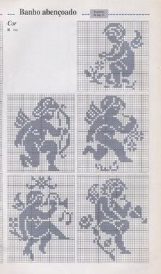 Can be used for filet crochet also. Filet Crochet, Crochet Motifs, Crochet Diagram, Crochet Chart, Crochet Patterns, Stitch And Angel, Cross Stitch Angels, Cross Stitch Charts, Cross Stitch Designs