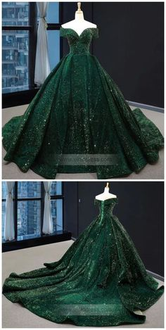 Off the Shoulder Green Prom Dresses Plus Size Vintage Ball Gowns - - Emerald green sequin long prom dresses. Ball Gowns Evening, Ball Gowns Prom, Ball Gown Dresses, Dresses Dresses, Sparkly Dresses, Pageant Dresses, Plus Size Ball Dresses, Formal Dresses, Modest Prom Dresses