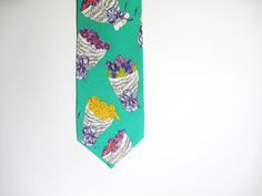 Vintage Yves Saint Laurent   Mint Flowers Tie