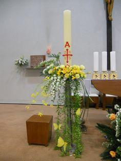 Daum 블로그 - 이미지 원본보기 Altar Flowers, Church Flowers, Deco Floral, Arte Floral, Altar Decorations, Christmas Decorations, Easter Flower Arrangements, Funeral Arrangements, May Designs