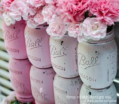 Mason Jar Painted & Distressed - Ombre Pink _ Set of 4 mason jars painted and distressed in ombre pink colors.