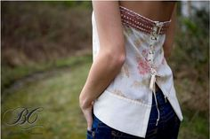 Eco Friendly Beige Tan Pink Green Floral Strapless Boho Corset Style Lace up Top Blouse One of a Kind