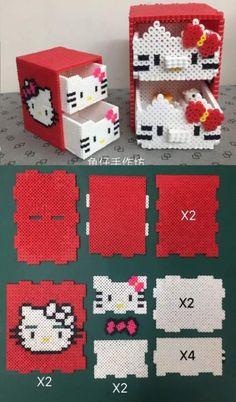 Hello Kitty Bügelperlen: https: - Jewelry Making Ideas Perler Bead Designs, Perler Bead Templates, Hama Beads Design, Pearler Bead Patterns, Diy Perler Beads, Perler Bead Art, Perler Patterns, Hamma Beads 3d, Pearler Beads