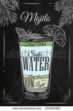 Mojito cocktail in vintage style stylized drawing with chalk on blackboard