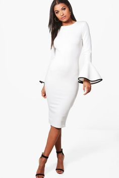 7f44d4f7921cb Contrast Flared Sleeve Midi Dress - boohoo party dress, white dresses,  special occasion dresses