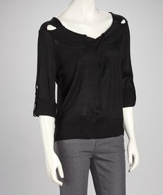Nancy Yang Black Cutout Sweater - Women by Nancy Yang #zulily #zulilyfinds