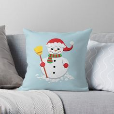 'Snowman with green and red scarf holding yellow broom' Throw Pillow by duyvolap Red Scarves, Designer Throw Pillows, Green Stripes, Pillow Design, Snowman, Hold On, Finding Yourself, Yellow, Prints