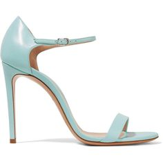 Casadei Duse leather sandals ($290) ❤ liked on Polyvore featuring shoes, sandals, light blue, leather sandals, high heel shoes, strappy high heel shoes, leather high heel sandals and strap sandals