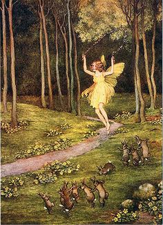 Dancing Bunnies and Fairy with Flower Jump Rope--Outhwaite
