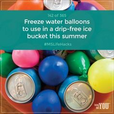 Want a no-drip ice bucket to keep drinks cold this summer? Fill balloons with water and freeze them. #MSLifeHacks