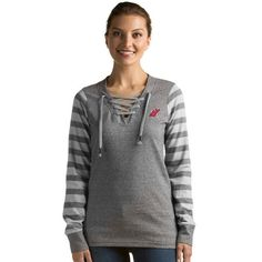 New Jersey Devils Antigua Rumble Lace-Up Crew Sweatshirt - Gray - $54.99