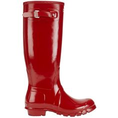 Hunter Iconic Original Tall Glossy Rain Boot ($150) ❤ liked on Polyvore featuring shoes, boots, red, wellington boots, red tall boots, rain boots, red boots and tall rubber boots