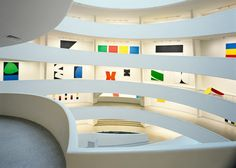 Installation view of our 1996 Ellsworth Kelly retrospective at Guggenheim Museum, NY Ellsworth Kelly, Museums In Nyc, Whitney Museum, Arte Popular, Museum Of Modern Art, Solomon, Architectural Elements, Art And Architecture, Installation Art