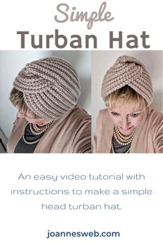 Knit this simple turban hat with a super easy to follow video tutorial and instructions. Crochet Turban, Knitted Headband, Knitted Hats, Knit Crochet, Crochet Hats, Easy Knit Hat, Easy Knitting, Knitting Patterns, Crochet Patterns