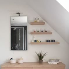 shelves and a slanted ceiling.