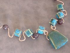 Copper and Turquoise Sculpture Necklace by CherryCreekNV on Etsy, $38.00