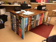 My desk at school - Perfect for an English teacher! :)