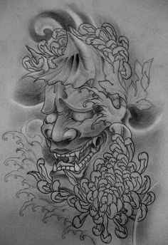 Hannya upper left leg tattoo by TeroKiiskinen.deviantart.com on @deviantART