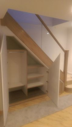 Oak and glass staircase refurb with new under stairs storage | inrichting huis | Pinterest | Stair storage, Staircases and Storage ideas