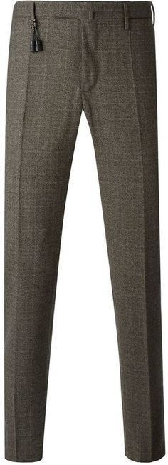 $285, Brown Plaid Wool Dress Pants: Incotex Checked Tailored Trousers. Sold by farfetch.com. Click for more info: http://lookastic.com/men/shop_items/136836/redirect